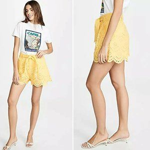 7 For All Mankind NWT Yellow Eyelet Shorts